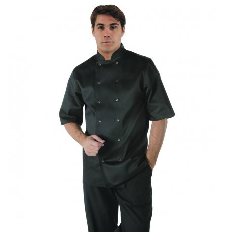 Whites Vegas Unisex Chef Jacket Short Sleeve Black - L