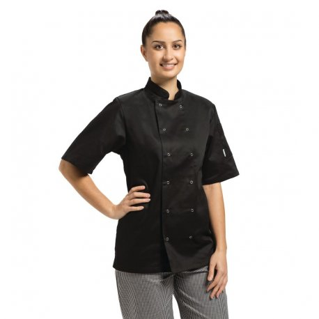 Whites Vegas Unisex Chef Jacket Short Sleeve Black - M