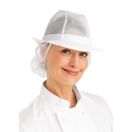 Trilby Hat with Net Snood White M