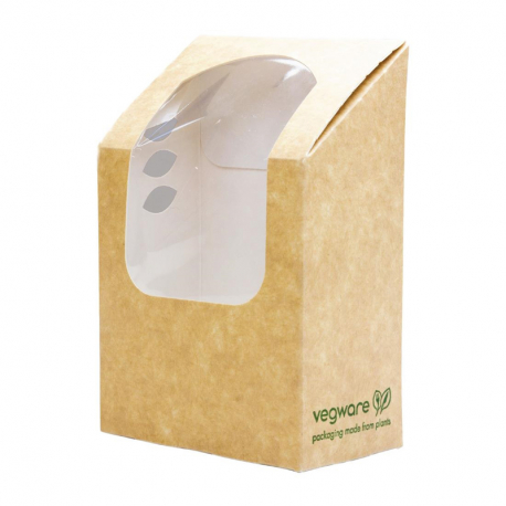 Vegware Compostable Kraft Tortilla Wrap Boxes With PLA Window (Pack of 500)