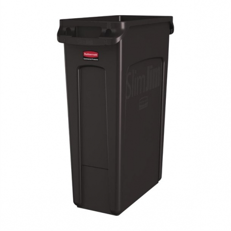 Rubbermaid Slim Jim Container With Venting Channels Brown 87Ltr