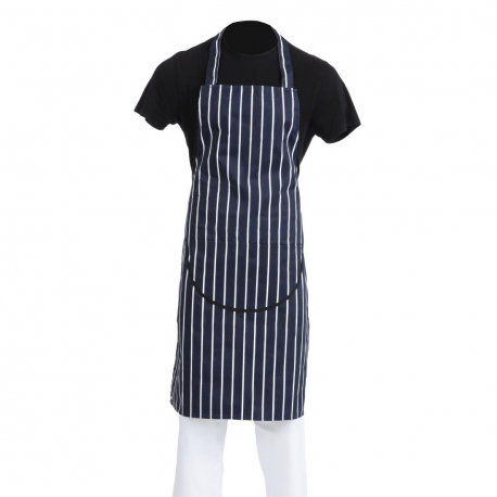 Whites Butchers Apron Navy Stripe with Pocket