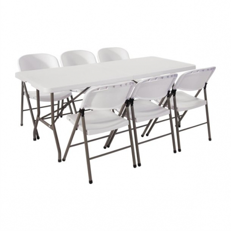Outstanding Special Offer Bolero 6Ft Centre Folding Table With Six Folding Chairs Spiritservingveterans Wood Chair Design Ideas Spiritservingveteransorg