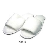 Towelling Slippers - Dotted Sole - White