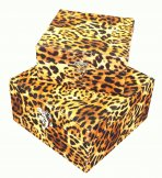 2 x Leopard Fabric Covered Storage Boxes 18cm & 22cm