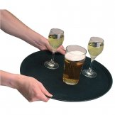 Kristallon Fibreglass Round Non-Slip Tray Black 280mm