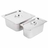 Vogue Stainless Steel Gastronorm Pan Set 1/3 and 2/3 with Lids