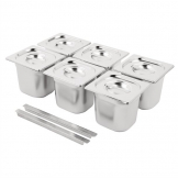 Vogue Stainless Steel Gastronorm Pan Set  6 x 1/6 with Lids