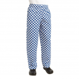 Chef Works Essential Baggy Pants Big Blue Check XS