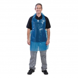 Disposable Polythene Bib Aprons 14.5 Micron Blue (Pack of 100)