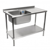 Holmes Fully Assembled Stainless Steel Sink Single Right Hand Drainer 1200mm