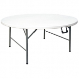 Bolero Round Centre Folding Table White 5ft (Single)