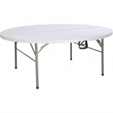 Bolero Round PE Centre Folding Table White 6ft (Single)