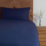Essentials Temir Duvet Cover Navy Single Open (140 TC, 100% Polyester)