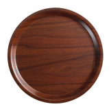 Cambro Mykonos Laminate Round Canteen Tray Walnut 380mm
