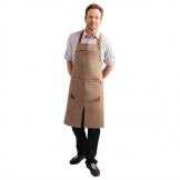 Bragard Fileas Apron Taupe and Leather
