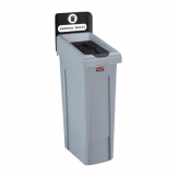 Rubbermaid Slim Jim General Waste Recycling Station Black 87Ltr