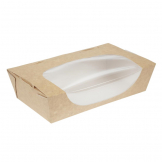 Colpac Recyclable Kraft Tuck-Top Salad Boxes With Window 1000ml / 35oz (Pack of 200)