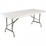 Bolero Rectangular Centre Folding Table 6ft White (Single)