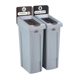 Rubbermaid Slim Jim Two Stream Recycling Station 87Ltr