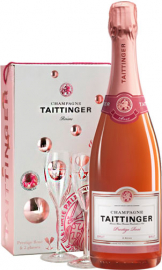 Taittinger - Brut Prestige Rose & 2 Glass Pack (Champagne Gift Box - 1 Bottle)