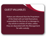 A5 Guest Valuables Guest Information Notice - GH022 - Multiple Colours