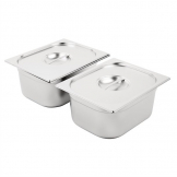 Vogue Stainless Steel Gastronorm Pan Set 2 x 1/2 with Lids