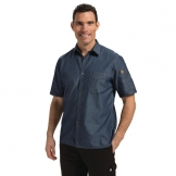 Chef Works Unisex Detroit Denim Short Sleeve Shirt Blue M
