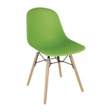 Bolero PP Moulded Side Chair Green with Spindle Legs (Pack of 2)