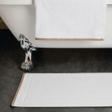 Heritage Ambassador Bath Mat White with Taupe Border