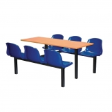 Bolero Six Seater Dual Access Canteen Unit Beech and Blue