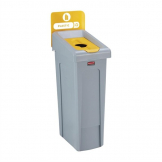 Rubbermaid Slim Jim Plastic Recycling Station Yellow 87Ltr