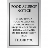 Brushed Steel Food allergy sign A4