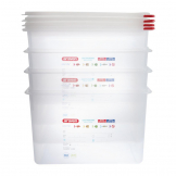 Araven Polypropylene 1/1 Gastronorm Food Storage Box 28Ltr (Pack of 4)