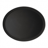 Cambro Camtread Large Fibreglass Oval Non-Slip Tray Black 600mm