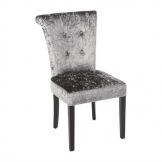 Bolero Olive Grey Crushed Velvet Dining Chair (Pack of 2)