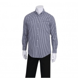 Chef Works Mens Dress Shirt Dark Navy Gingham L