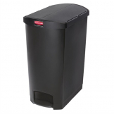 Rubbermaid Slim Jim End Step on Pedal Bin Black 90Ltr