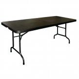 Bolero Rectangular Centre Folding Utility Table Black 6ft (Single)