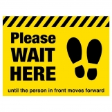 Please Wait Here Social Distancing Floor Graphic