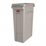 Rubbermaid Slim Jim Container With Venting Channels Beige 87Ltr