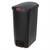 Rubbermaid Slim Jim End Step on Pedal Bin Black 68Ltr
