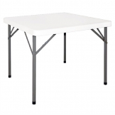 Bolero PE Square Folding Table 3ft White (Single)