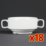 Bulk Buy Olympia Handled Soup Bowls 400ml (Pack of 18)