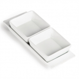 Olympia Whiteware Snack Dishes with Plates 2 Section (Pack of 2)