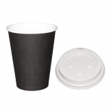 Special Offer  Fiesta Black 225ml Hot Cups and White Lids