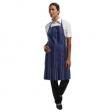 Chef Works Bib Apron Navy and Blue Stripe