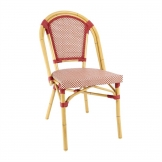 Bolero Continental Bistro Wicker Side Chairs Red & Cream (Pack of 4)