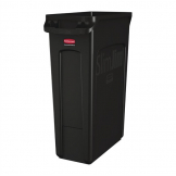 Rubbermaid Slim Jim Container With Venting Channels Black 87Ltr