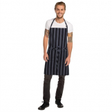 Chef Works Urban Chesapeake Wide Stripe Bib Apron Black